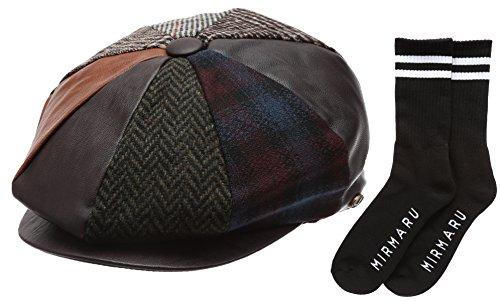 Men's Patchwork Wool Blend Applejack Newsboy Hat with MIRMARU Socks (2322, Medium) (Apple Jack Caps)