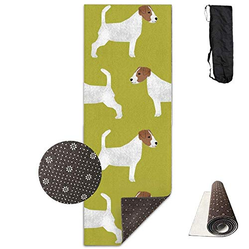 Jack Russell Terrier,Extra,Thick High Density Exercise Yoga Mat with A Yoga Bag for Exercise,Yoga and Pilates. Waterproof Yoga Mats Fitness