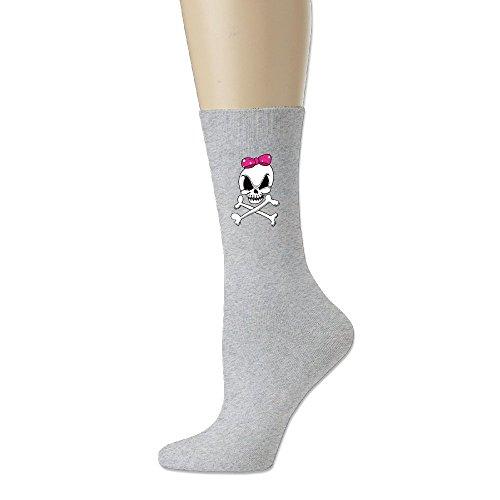(VYily Girls Skull And Crossbones Crew Socks Ash One Size )
