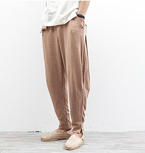 Harem Traspirante Lino Da Casual In Marrone Pantaloni Uomo Confortevole Stile Lungo Hibasing Cinese axqR5Z1