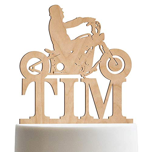Biker Silhouette Chopper Motorcycle Personalized Cake Topper Birthday Cake Topper For Men Customized HD Biker | Wooden Cake Toppers