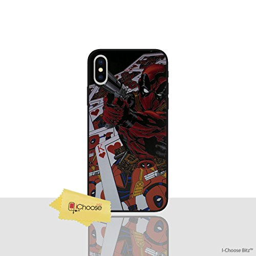 3D Marvel Case Phone Cover for Apple iPhone X/10 Marvel Silicone Phone Case/Gel Cover for Apple iPhone X/10 / Screen Protector & Cloth/iCHOOSE / Deadpool - Cards ()