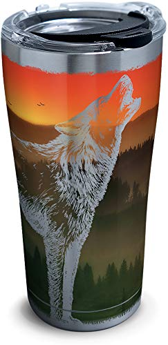(Tervis 1308059 Missouri-Branson Wolf Insulated Tumbler with Clear and Black Hammer Lid, 20 oz Stainless Steel, Silver)