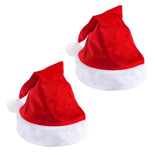 Santa Hat Classic Red Christmas Hat Plush Trim Adults Children Costume Hat (2 PCS ()