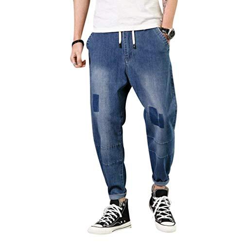 Saphirblau Jeans Da Pantaloni Abbigliamento Alla Larghi Vintage Lunghi Moda Aderenti Donna Denim Uomo Con Coulisse 65TawZTq