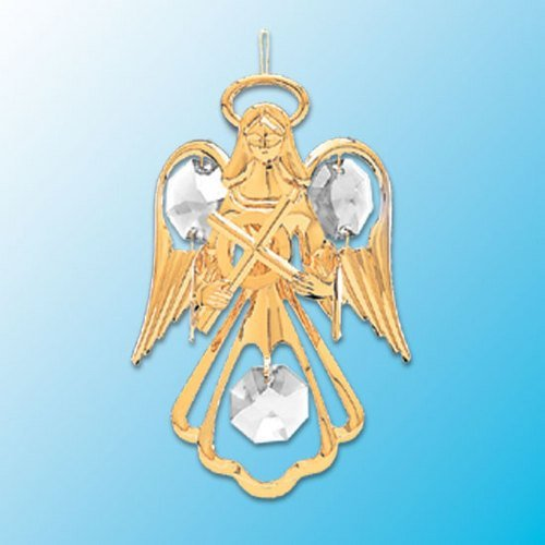 24K Gold Plated Hanging Sun Catcher or Ornament..... Guardian Angel holding a Cross with Clear Swarovski Austrian Crystal
