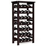 LANGRIA 28-Bottle Wine Rack Made of Natural Bamboo Wood with Table Top 7-Tier Free Standing Storage Shelves Wobble-Free Espresso Color for Kitchen Bar Dining or Living Room
