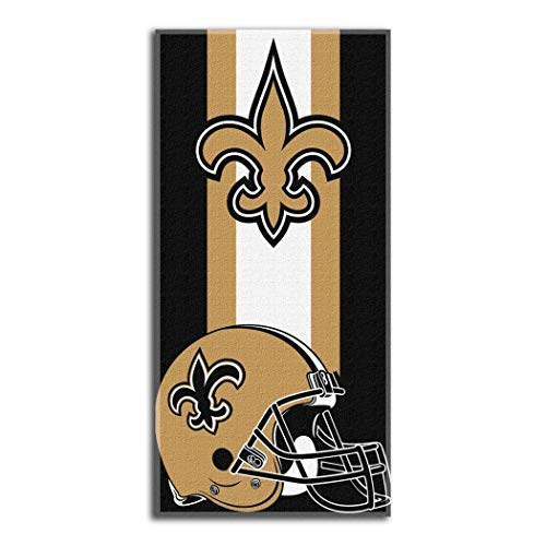 1 Piece NFL Saints Zone Read Beach Towel 30 X 60 Inches, Football Themed Towel Sports Patterned, Team Logo Fan Merchandise Athletic Team Spirit Black Old Gold White, Cotton Polyester