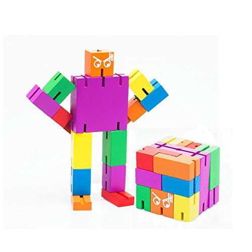TISSA 3D Brain Teaser, Wooden Puzzle Transformer Cube Robot Toy Multi-Color Tetris Twister Cube Toy 1yr Robot