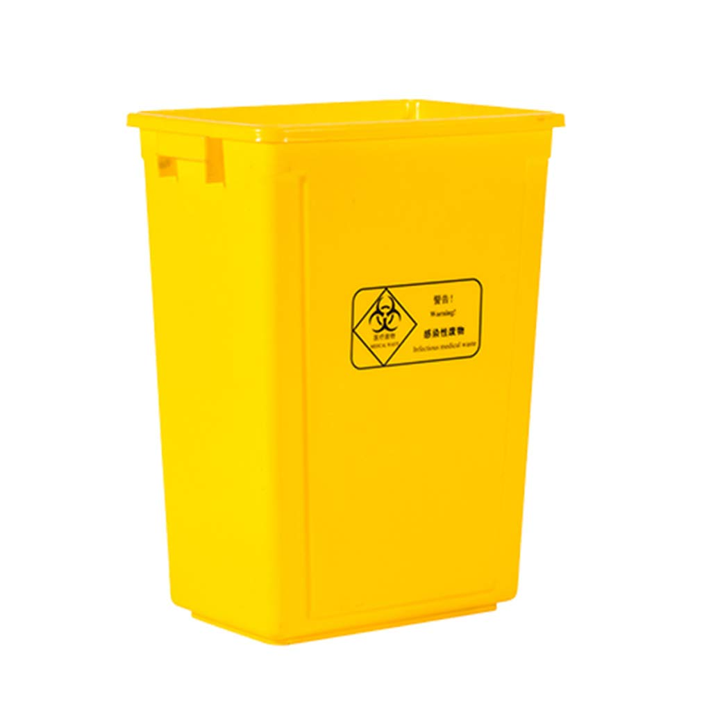 CSQ Yellow Plastic Trash Can, Clamshell Trash Can, Hospital Clinic Laboratory Trash Can 20L / 40L / 60L Indoor