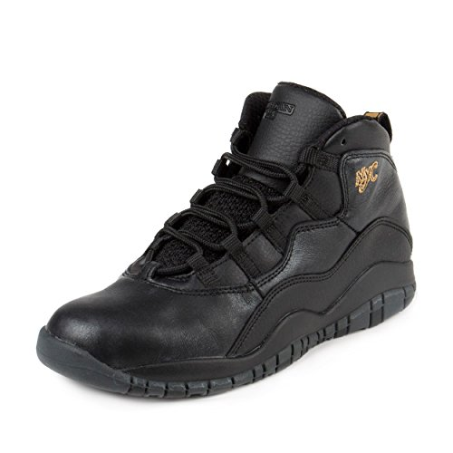 Nike Jordan Kids Jordan 10 Retro Bp Black/Black/Drk Grey/Mtllc Gld Basketball Shoe 3 Kids US - Jordan 3 Fusion