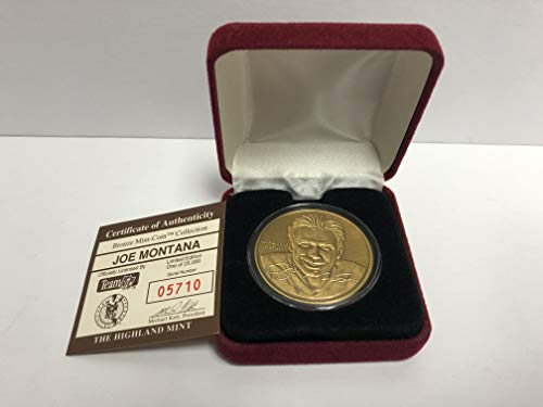 - Joe Montana Bronze Medallion Limited Edition Mint Coin San Francisco 49ers from the Highland Mint and is serial numbered to 25,000
