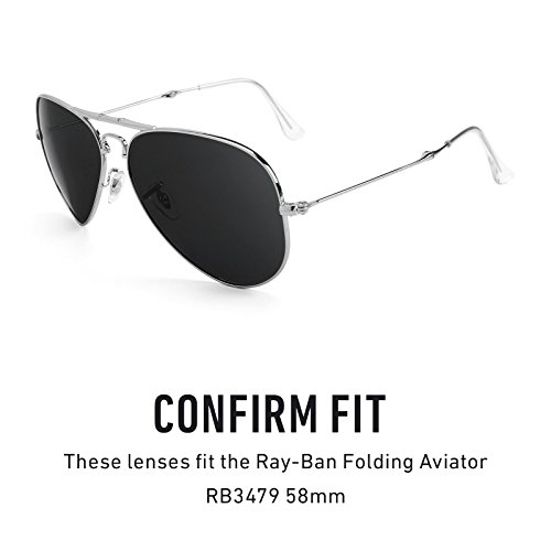 Verres de rechange pour Ray Ban Folding Aviator RB3479 58mm — Plusieurs options Bolt Or MirrorShield® - Polarisés