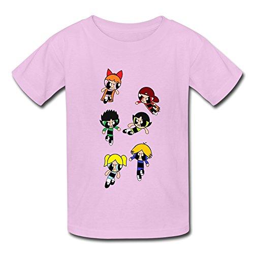 Crew Neck Powerpuff Rowdyruff Geek Kid's Boys And Girls T Shirt Pink Size XL (Rowdyruff Boys)