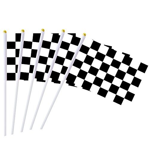 Consummate.US.Store Checkered Racing Stick Flag,50 Pack Small Black & White Checkered Race Car Pennant Flags Banners,Party Decorations Supplies for Racing,Race Car Party,Sport Events,Kids Birthday