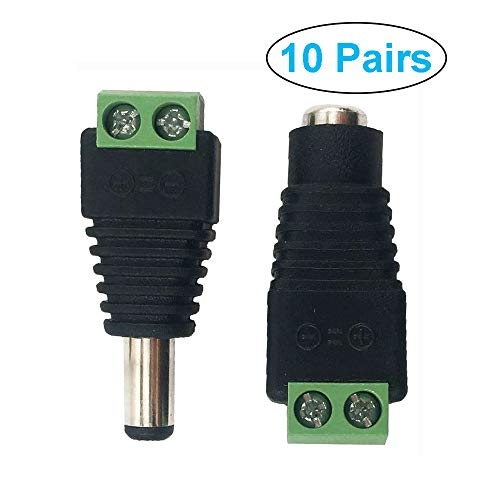 MCIGICM 10 Pairs 12V Male+Female 2.1x5.5MM DC Power Jack Plug Adapter Connector for CCTV Camera