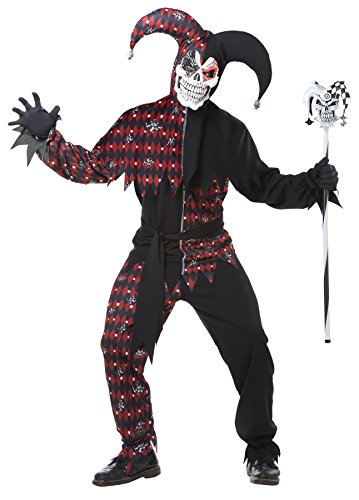 UHC Men's Sinister Jester's Fool Psycho Clown Outfit Adult Halloween Costume, L (42-44)