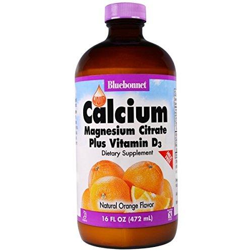 Bluebonnet Liquid Calcium Magnesium Citrate, Orange, 16 Fluid Ounce (3 Bottles).