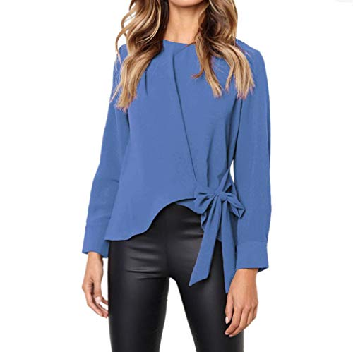 Realdo Clearance Sale, Casual Women Ladies Long Sleeve OL Shirt Tie Bow Loose Tops Blouse(Blue,Large) -