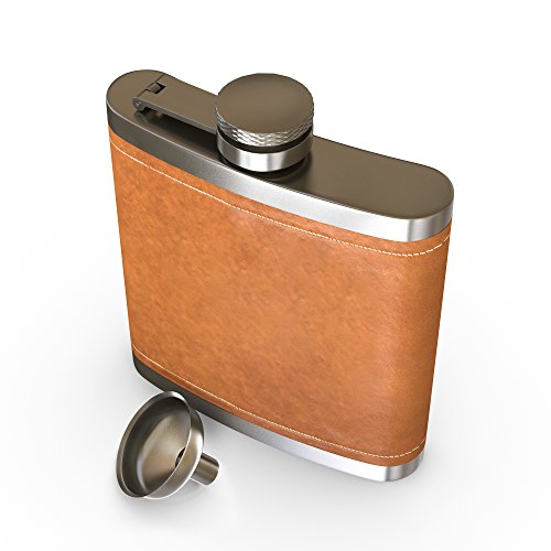 Flask Brown Leather, Hip Flask,2PCS by IBRR (Image #1)