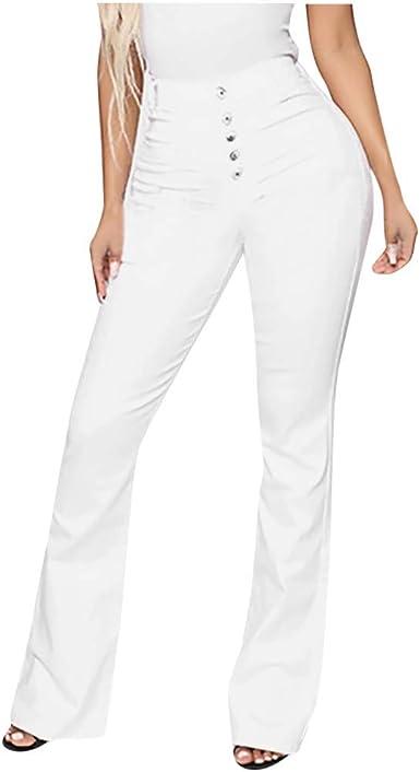 Pantalon Large Jeans Slim, GreatestPAK Femme Noir Blanc Jeans évasés de Grande Taille Pantalons Taille Haute Cool en Denim