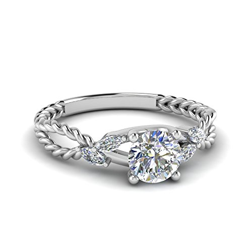 TrueJewelry28 Diamond Trellis Engagement Ring 925 Sterling Silver with 14K White Gold Plated (Size-14) ()