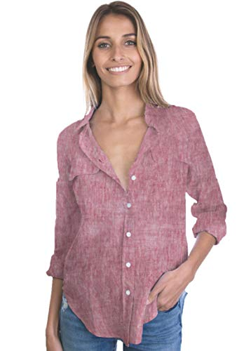CAMIXA Womens 100% Linen Button Down Shirt Casual Basic Blouse Pockets Loose Top XXL Red Melange