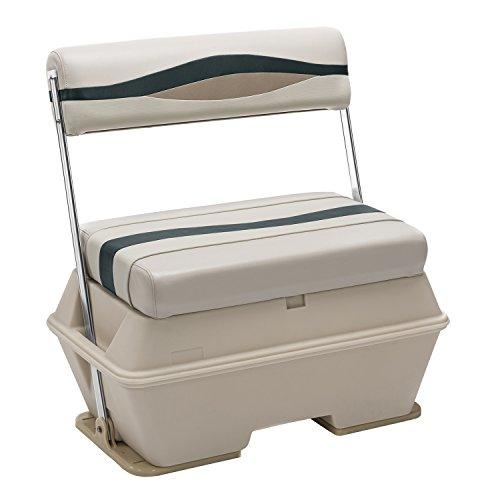 Wise Premier Series Pontoon Flip-Flop Seat with 50-Quart Cooler, Platinum/Platinum Punch/Jade/Fawn