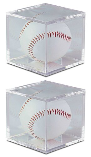 Baseball Display Cases Shop - Baseball 2 Pack UV Protected Square Ball Holder Display Case by BCW