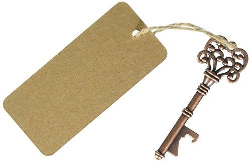 Wedding Favor Skeleton Key Bottle Opener with Escort Tag Card - 100pcs