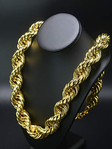 (Mens Run DMC 30mm Hollow Gold PT Thick Rope 30