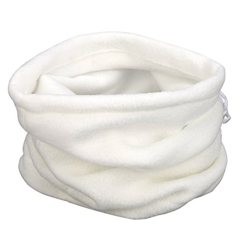 Neck Warmer Outdoor Fleece Scarf turtleneck collar men and women winter multifunctional headgear warm mask hat Light White