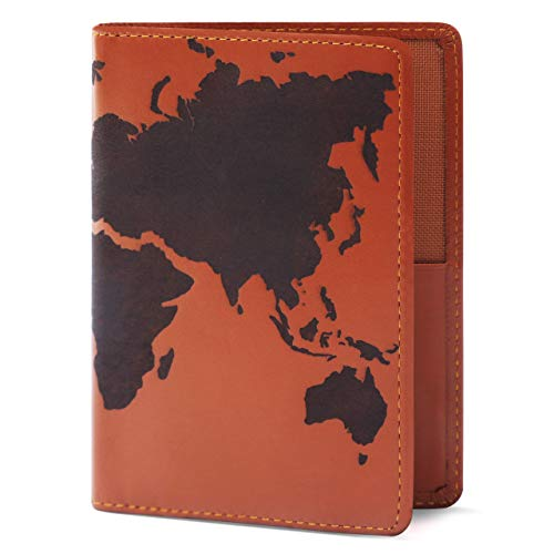 Price comparison product image Lethnic Leather Passport Holder Wallet Cover Case RFID Blocking Travel Wallet (World Map) (Dark Brown)