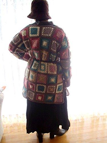 Granny square afghan cardigan, multicolor cardigan, hippie style cardigan, vintage style cardigan
