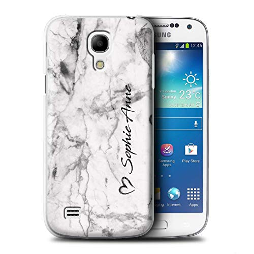 Personalized Custom White Marble Case for Samsung Galaxy S4 Mini/Brush Heart Signature Design/Initial/Name/Text DIY Cover