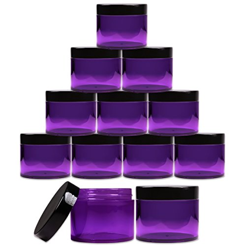 Beauticom 2 oz. (60g /60ML) (Quantity: 12 Packs) Thick Wall Round Leak Proof PURPLE CLEAR Acrylic Jars with BLACK Lids for Beauty, Cream, Cosmetics, Salves, Scrubs ()