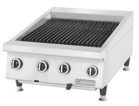 Garland GTBG24-AR24 Heavy Duty 24'' Gas Countertop Charbroiler with Cast Iron Radiants & Adjustable Grates