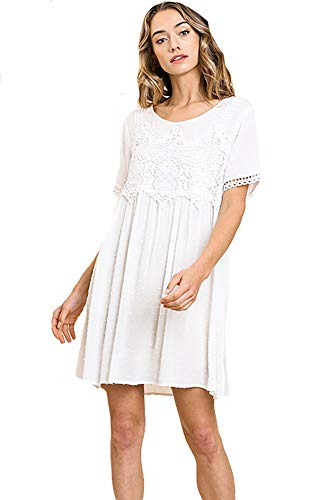 Higher Standards! Beautiful Monochromatic Dress with Lace (Off White, Small)