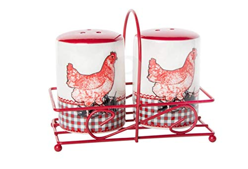 Ceramic Hen Salt and Pepper Shakers in Red Metal Carrier, 3.54