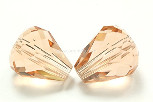 Peach Oval Beads - 50 10x8mm Adabele Austrian TearDrop Crystal Beads Light Peach Compatible with Swarovski Preciosa Crystalized Beads 5500#SST-1018