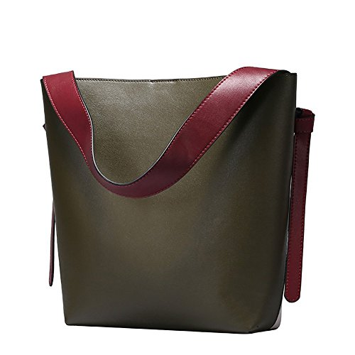 Sacs à main en cuir véritable S-zone Sac à bandoulière fourre-tout véritable Color Block Femme Vert Olive