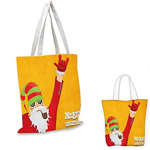 Indie canvas messenger bag Biker Santa Claus Smoking Pipe with Hand Gesture Party Christmas Cartoon canvas beach bag Marigold Lime Green. ()