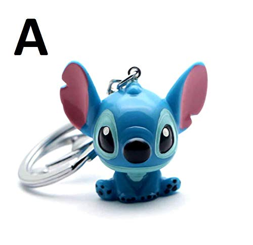 PAPRING Lilo Toy 1.3/1.8 inch PVC Figure Keychain Stitch Movie Disney Small Figures Keyring Mini Pendant Christmas Halloween Birthday Gifts Cute Doll Animal Accessories Collectible for Kids Adults (A)]()