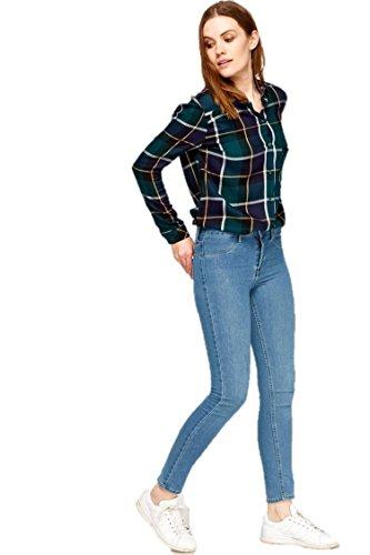 Ex Zara Ladies Skinny Womens Slim Fit Denim Cotton Blue Stretch Jeans Mid Blue Wash