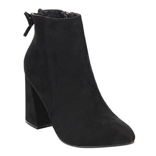Beston DE05 Women's Drawstring Ankle High Side Zip Block Heel Booties Run Small, Color Black, Size:11