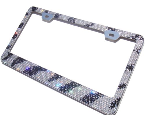 (13 Row 1300+ Super Shiny Real Glass Crystal Encrusted Over the Chrome Coating Metal License Plate Frame+Free Cap (Zebra Print))