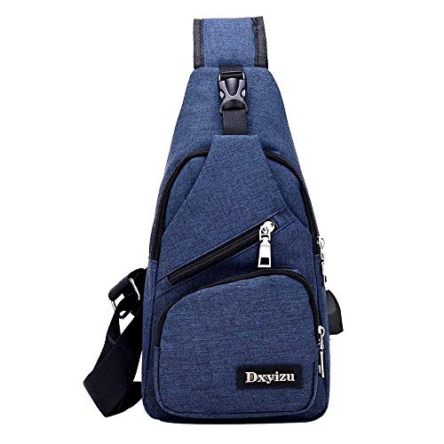 Grigio Zaino Casual Sport Uomo Easy Canvas Outdoor Sling Body Pelliccia Cross Blu Pure Usb Spalla Eeayyygch Color Bag qw8aIn1xa