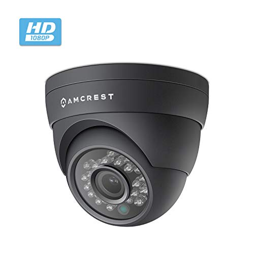 Amcrest Full HD 1080P 1920TVL Dome Outdoor Security Camera (Quadbrid 4-in1 HD-CVI/TVI/AHD/Analog), 2MP 1920x1080, 65ft Night Vision, Metal Housing, 3.6mm Lens 85° Viewing Angle, Black (AF-2MDT-36B)