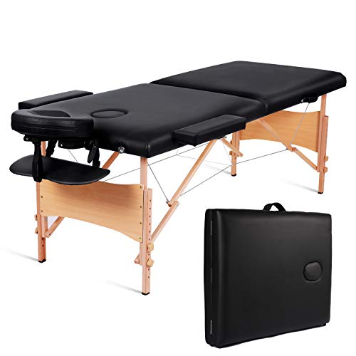 MaxKare Massage Table Portable Facial SPA Professional Massage Bed With Carrying Bag 2 Fold,Black. ()