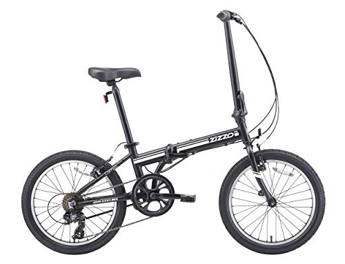 EuroMini ZiZZO 2019 Campo 28lb Lightweight Aluminum Frame Shimano 7-Speed Folding Bike 20-Inch (Matte Black) (Bicycle All Terrain Aluminum)